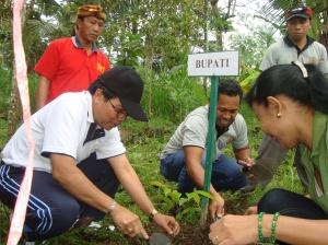 Bupati Gianyar bersama Koran DOR menanam sejuta pohon
